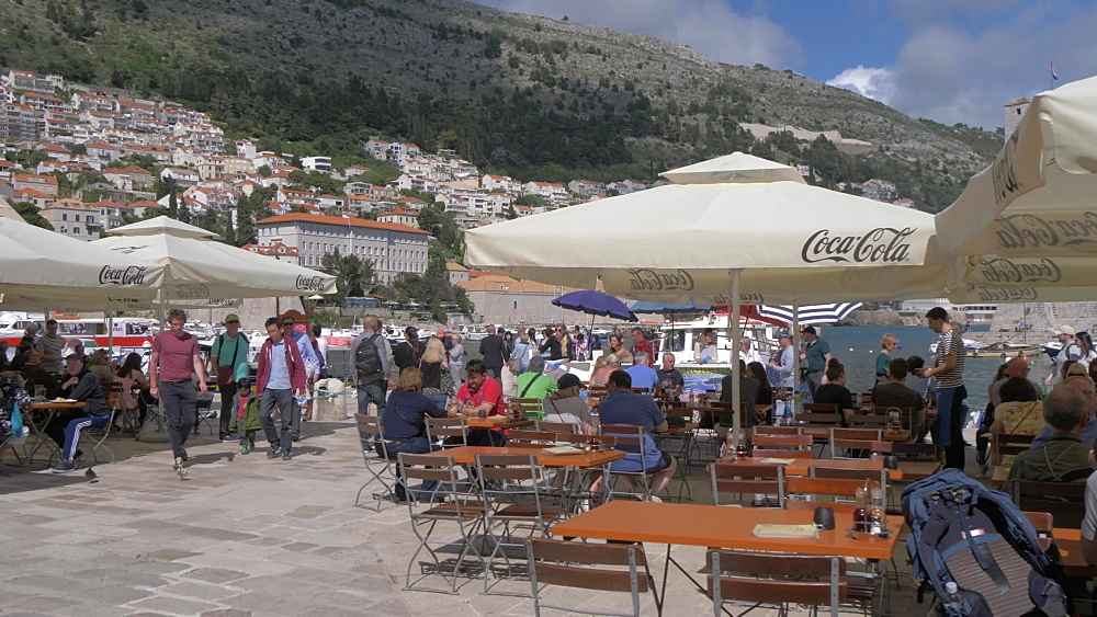 Cafes on waterfront, Old Town Harbour, Dubrovnik, Dubrovnik Riviera, Croatia, Europe