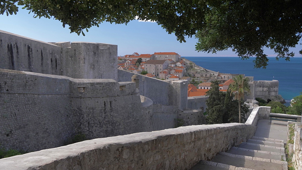 West Fortress wall from outside, Dubrovnik Old Town, UNESCO World Heritage Site, Dubrovnik, Dubrovnik Riviera, Croatia, Europe