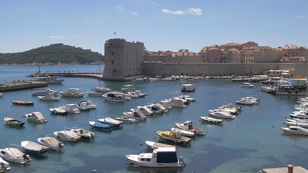 Harbour from Vrata od Ploca (Ploce Gate), historic gate to Dubrovnik Old Town, UNESCO World Heritage Site, Dubrovnik, Dubrovnik Riviera, Croatia, Europe