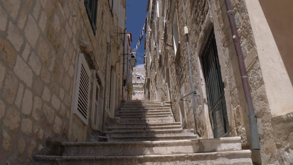 Back street steps, Dubrovnik Old Town, UNESCO World Heritage Site, Dubrovnik, Dubrovnik Riviera, Croatia, Europe