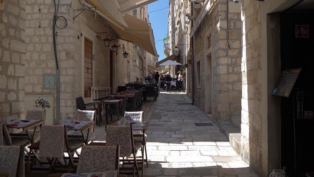 Al fresco restaurants on Prijeko, Dubrovnik Old Town, UNESCO World Heritage Site, Dubrovnik, Dubrovnik Riviera, Croatia, Europe