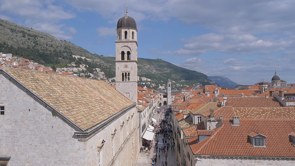 Jewish fountain and Stradun and rooftops from city wall, Dubrovnik Old Town, UNESCO World Heritage Site, Dubrovnik, Dubrovnik Riviera, Croatia, Europe