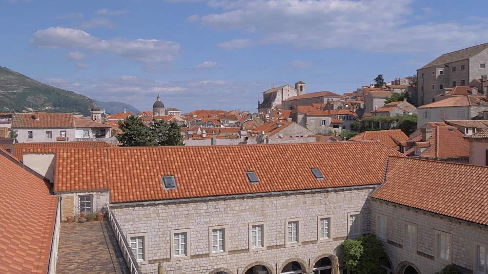 City wall and old town rooftops, Dubrovnik Old Town, UNESCO World Heritage Site, Dubrovnik, Dubrovnik Riviera, Croatia, Europe