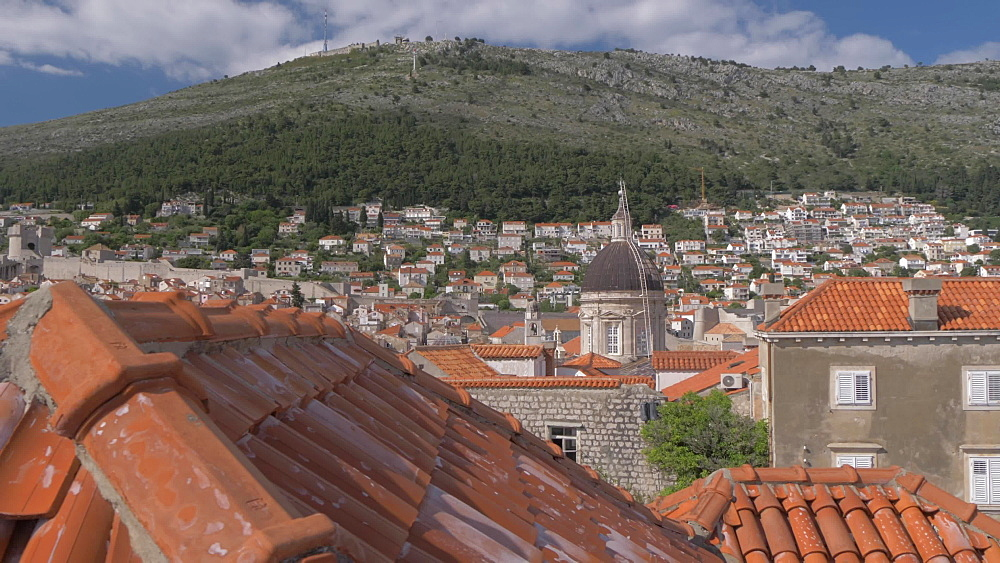 Shot from city wall of old town rooftops and Cathedral, Dubrovnik Old Town, UNESCO World Heritage Site, Dubrovnik, Dubrovnik Riviera, Croatia, Europe