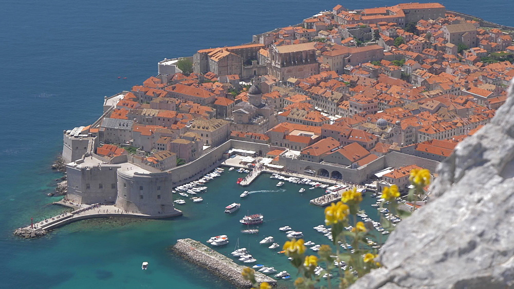 Bay and Dubrovnik Old Town and Harbour, UNESCO World Heritage Site, from Fort Imperial, Dubrovnik, Dubrovnik Riviera, Croatia, Europe