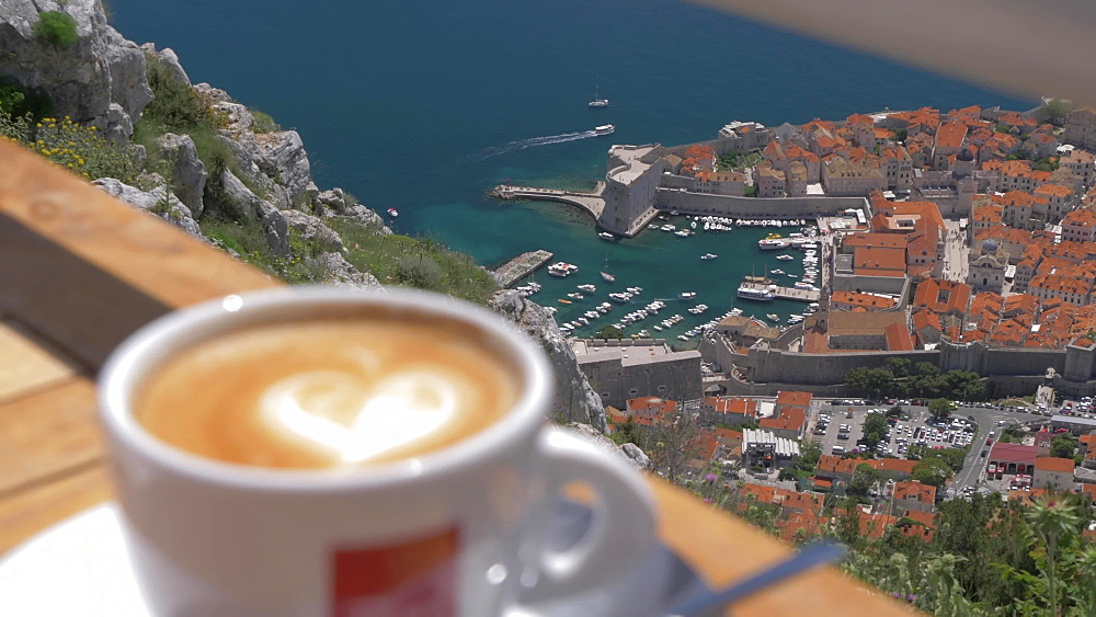 Coffee cup with bay and Dubrovnik Old Town and Harbour from Fort Imperial, Dubrovnik, Dubrovnik Riviera, Croatia, Europe