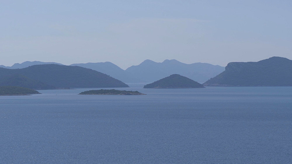 Adriatic Sea and islands off the coast of Croatia from near Trsteno, Dubrovnik Riviera, Croatia, Europe