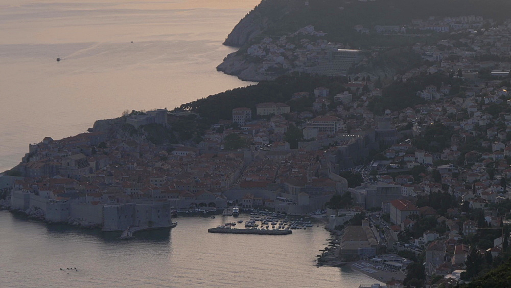Dubrovnik Old Town, UNESCO World Heritage Site, and Harbour and Adriatic Sea at sunset, Dubrovnik, Dubrovnik Riviera, Croatia, Europe