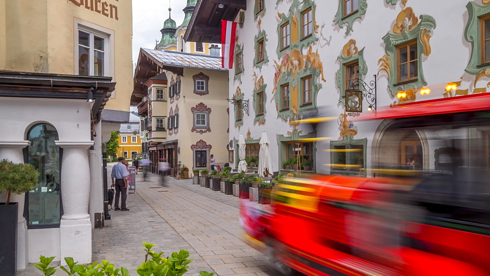 Time lapse of colourful architecture on Speckbackerstrassa in St. Johann in Tirol, Austrian Tyrol, Austria, Europe