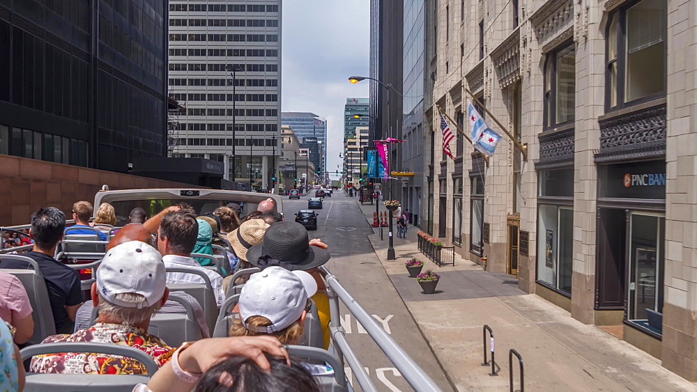 Hyper lapse of people and city from open top bus in Chicago, Chicago, Illinois, United States of America, North America