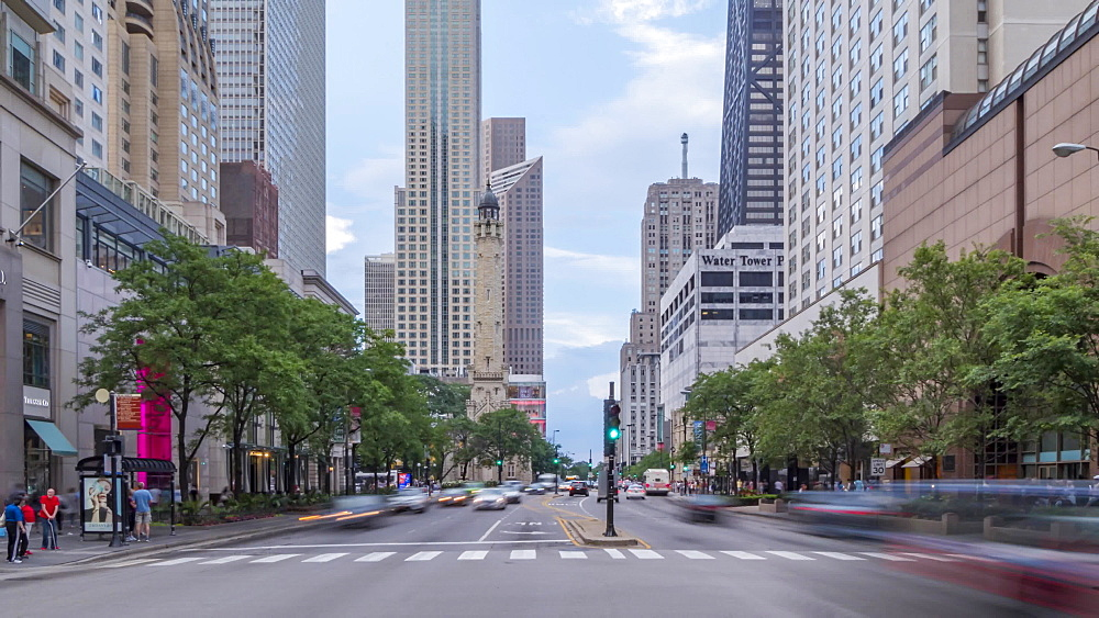 Time lapse of the Water Tower and traffic on Michigan Avenue, Chicago, Illinois, United States of America, North America