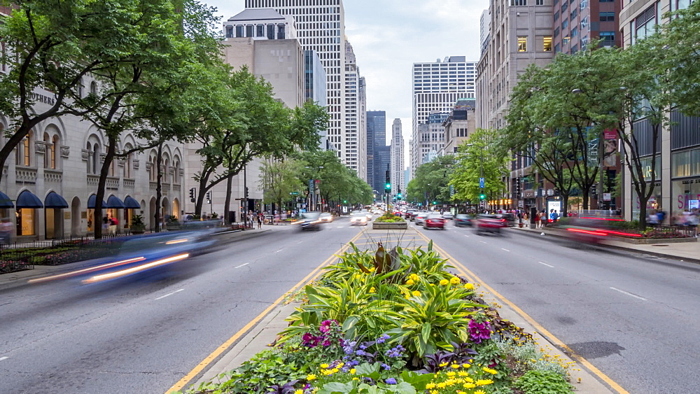 Time lapse of traffic on Michigan Avenue, Chicago, Illinois, United States of America, North America