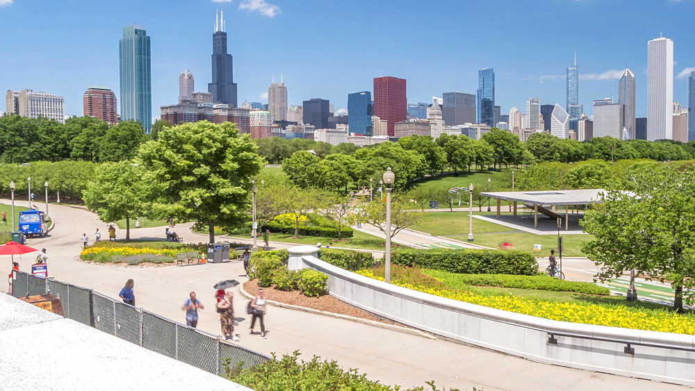 Time lapse of city skyline from Museum Campus, Chicago, Illinois, United States of America, North America