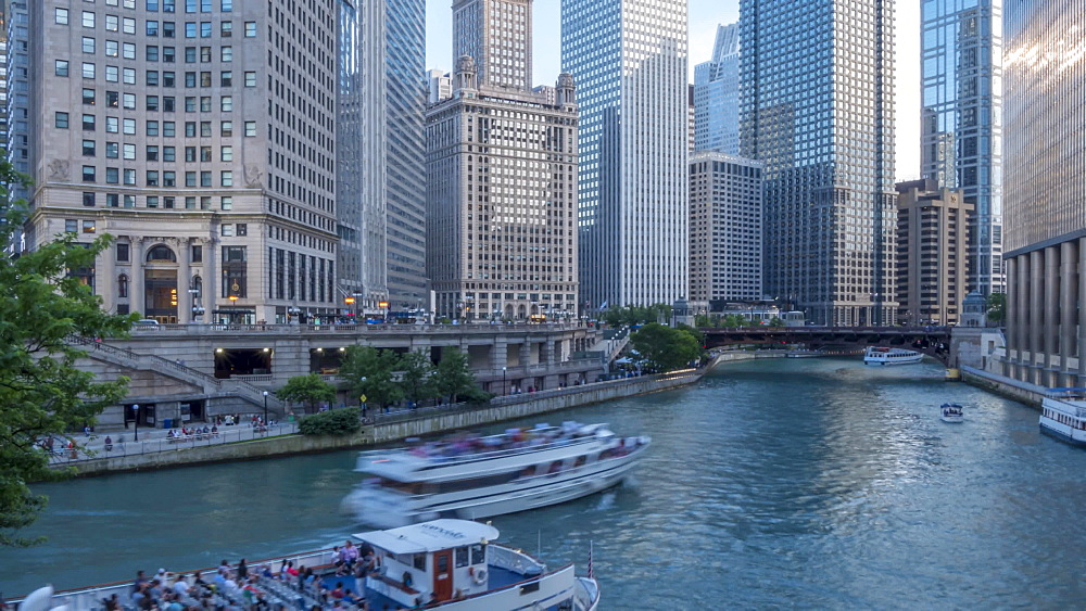 Time lapse of Chicago River and tall buildings, Chicago, Illinois, United States of America, North America