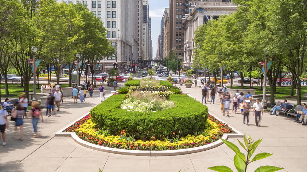 Time lapse of Michigan Avenue from Millennium Park, Chicago, Illinois, United States of America, North America