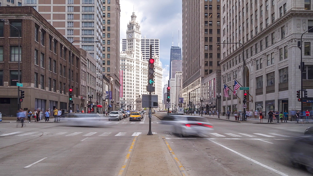 Time lapse of Michigan Avenue and the Wrigley Building, Chicago, Illinois, United States of America, North America