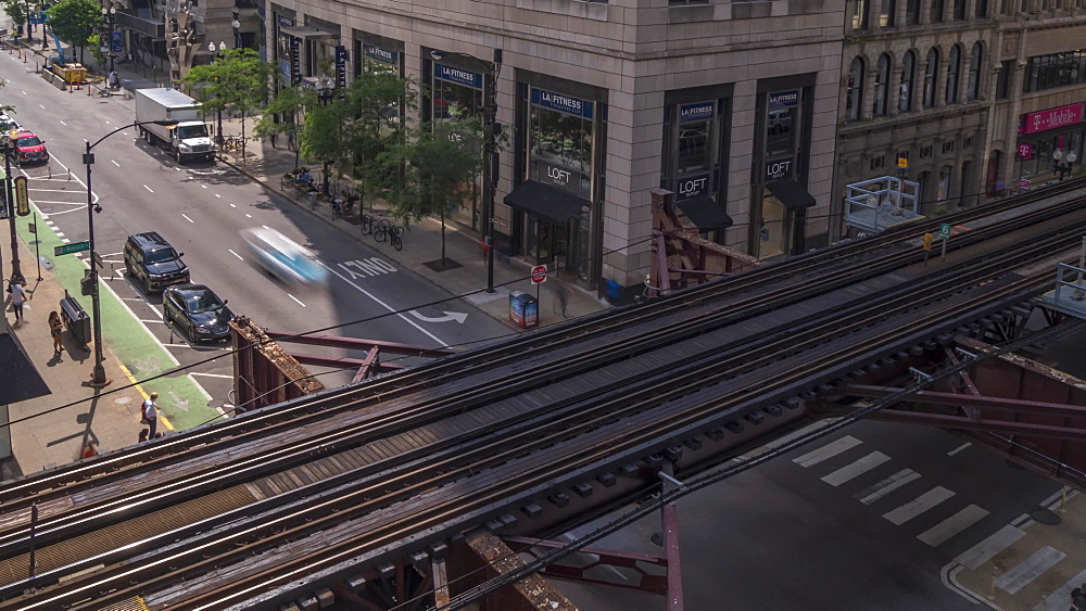 Time lapse of Loop Train and traffic in Downtown, Chicago, Illinois, United States of America, North America