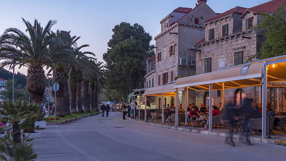 Time lapse of people and restaurants in Cavtat town, Cavtat, Dubrovnik Riviera, Croatia, Europe