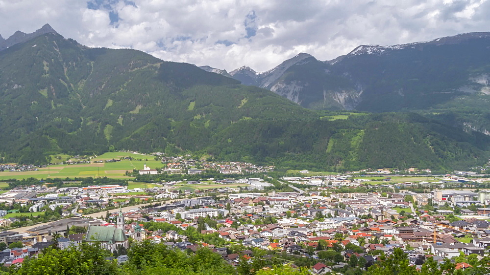 Time lapse of Schwaz from view above the town, Schwaz, Austria, Europe