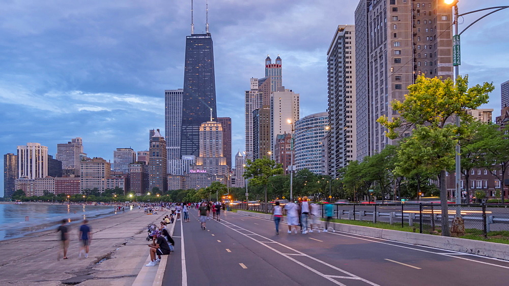 Time lapse of Chicago skyline and people on North Shore, Chicago, Illinois, United States of America, North America
