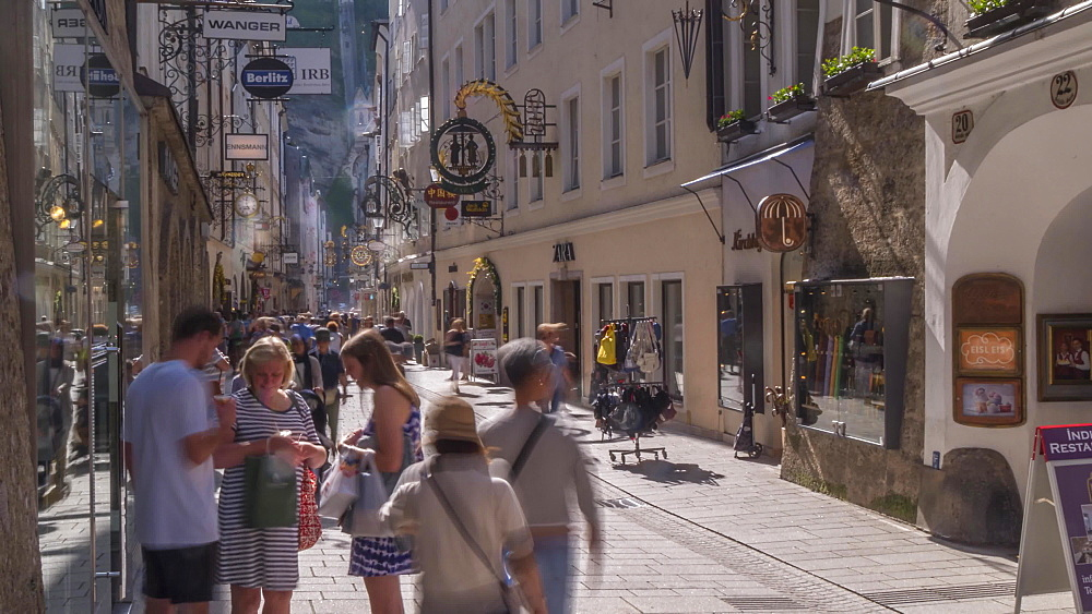 Time lapse of shoppers and signs on Getreidegasse, Salzburg, Austria, Europe