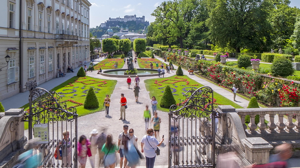 Time lapse of Hohensalzburg Castle from Mirabell Gardens, UNESCO World Heritage Site, Salzburg, Austria, Europe