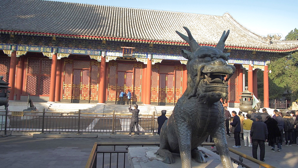 Ornate dragon in the Summer Palace, UNESCO World Heritage Site, Beijing, People's Republic of China, Asia