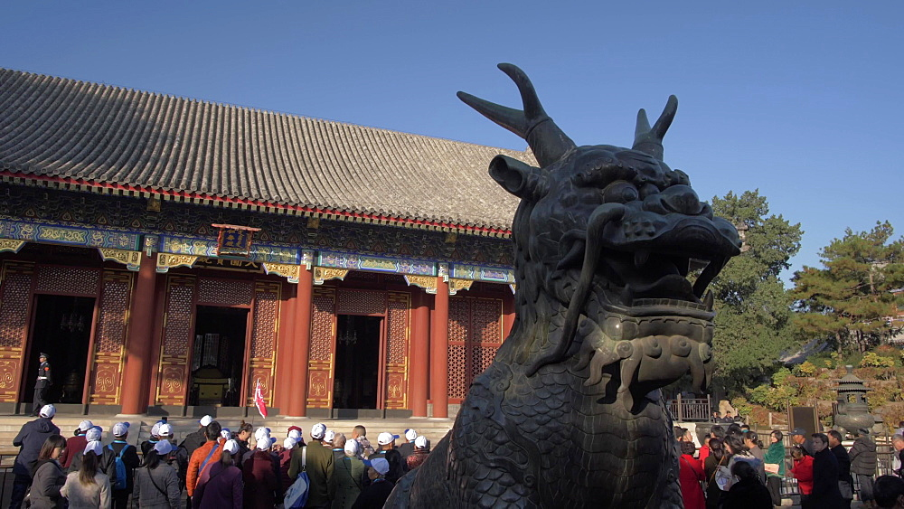 Ornate dragon and temple in the Summer Palace, UNESCO World Heritage Site, Beijing, People's Republic of China, Asia