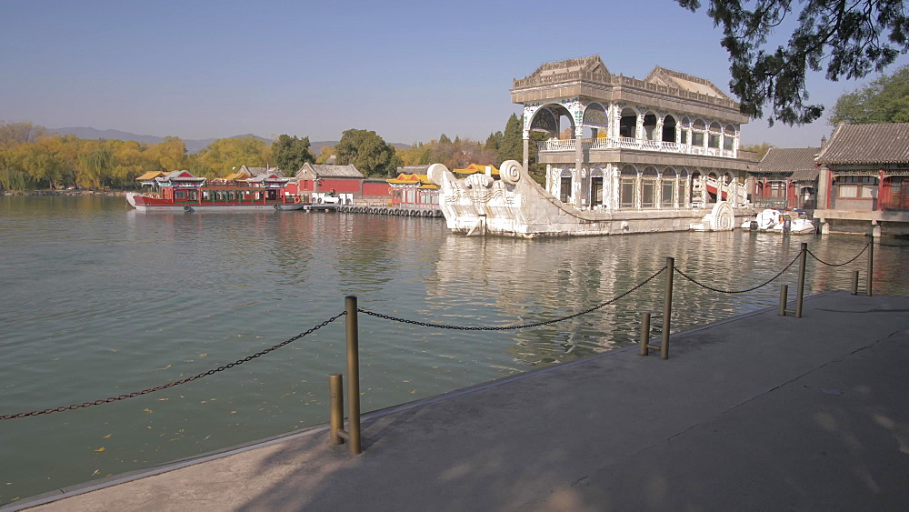 Kunming Lake and Boat of Marble, The Summer Palace, UNESCO World Heritage Site, Beijing, People's Republic of China, Asia