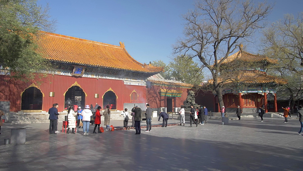 Shot of inside Tibetan Buddhist Lama Temple (Yonghe Temple), Dongcheng, Beijing, People's Republic of China, Asia