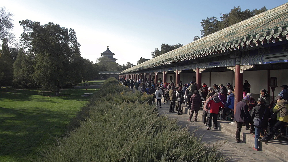 Gathering at the Ghost Corridor in the Temple of Heaven, UNESCO World Heritage Site, Beijing, People's Republic of China, Asia