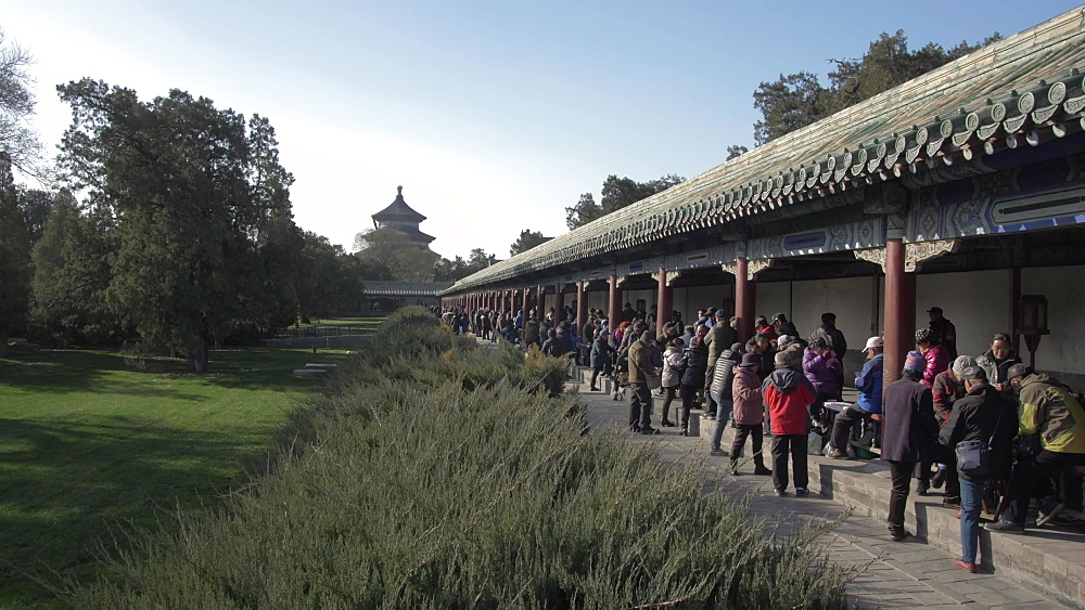 Gathering at the Ghost Corridor in the Temple of Heaven, Beijing, People's Republic of China, Asia