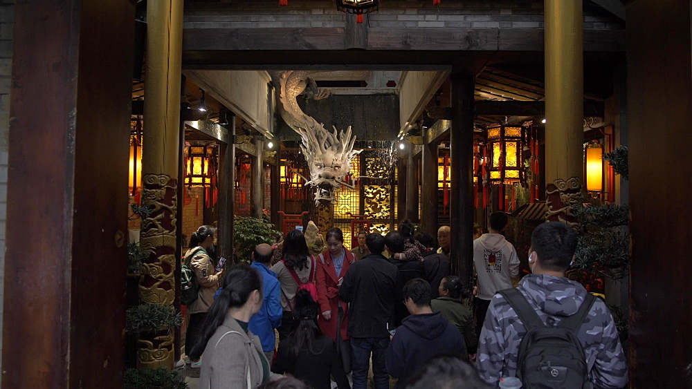 Shops and people on Kuanxiangzi Alley in Chengdu, Sichuan Province, People's Republic of China, Asia