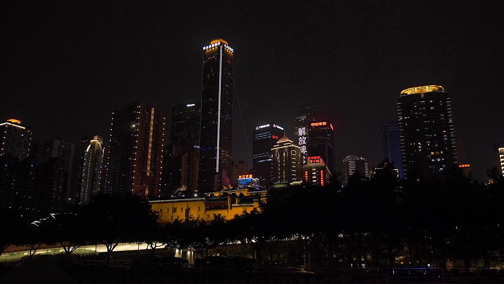Masangxi Bridge and city skyline at night on Yangtze River in Chongqing, Yuzhong District, China, Asia