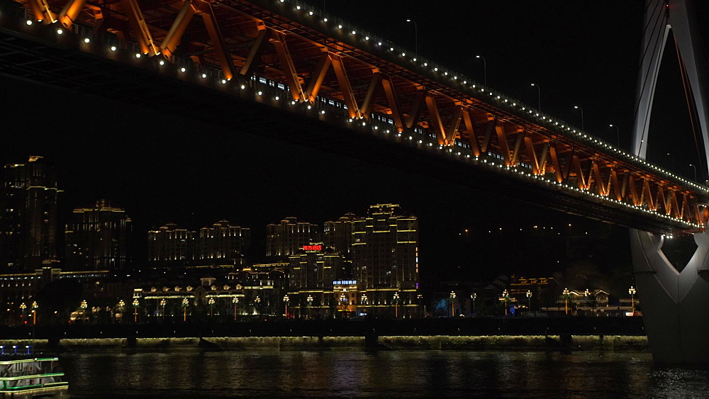 Train on Masangxi Bridge at night on Yangtze River in Chongqing, Yuzhong District, China, Asia