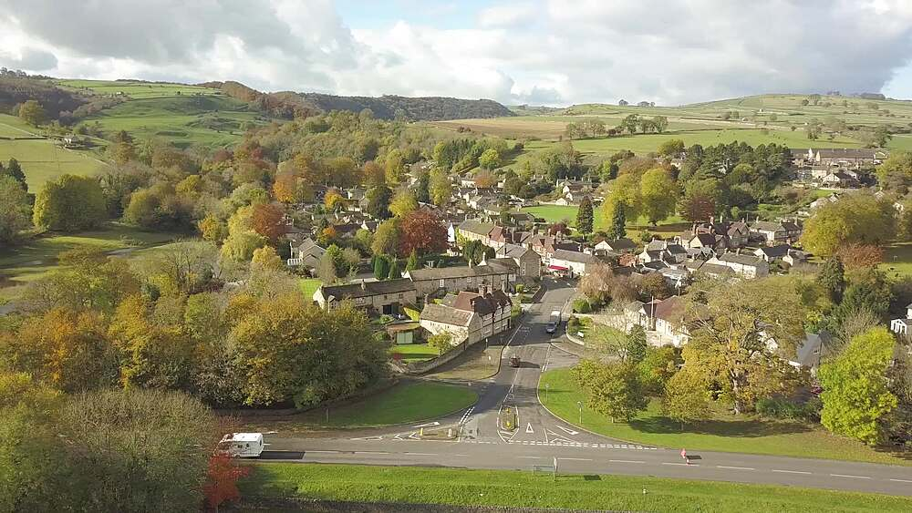 Aerial shot of Ashford in the Water in autumn, Bakewell, Peak District National Park, Derbyshire, England, United Kingdom, Europe