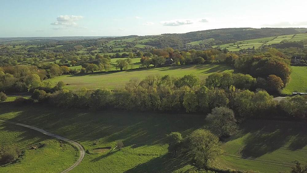 Aerial shot from Chesterfield to Wadshelf in autumn, Derbyshire, England, United Kingdom, Europe