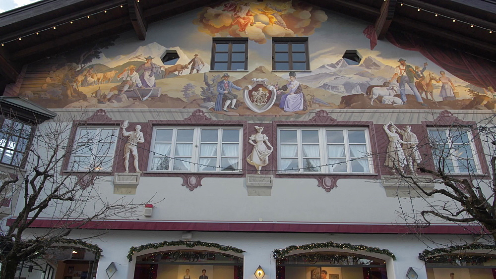 Tilt shot of ornately painted buildings in winter, Garmisch-Partenkirchen, Bavaria, Germany, Europe