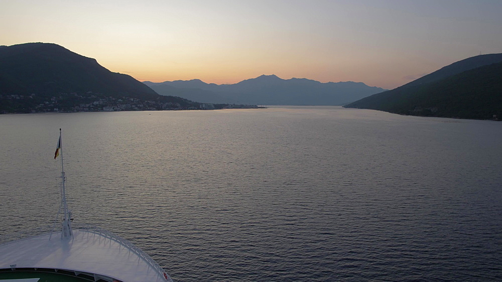 Early morning shot on board cruise ship entering Bay of Kotor, UNESCO World Heritage Site, Montenegro, Europe