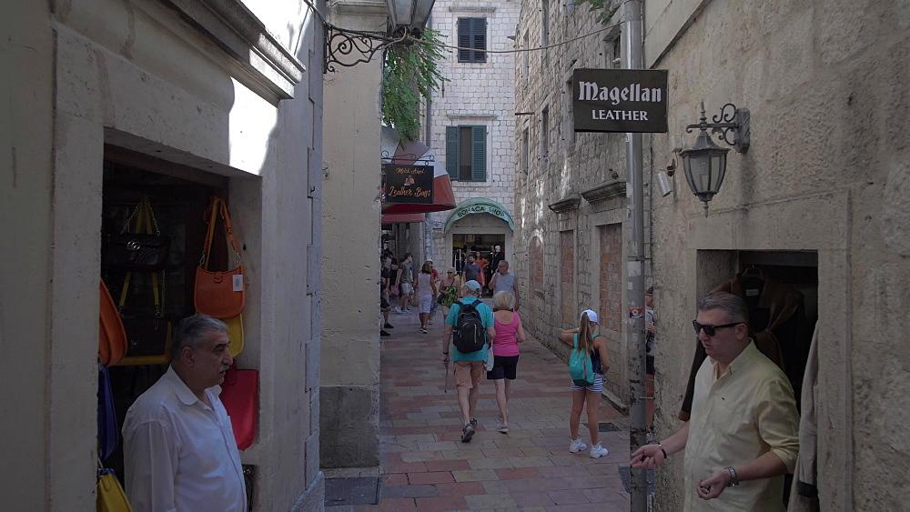 Narrow back street in Old Town of Kotor, UNESCO World Heritage Site, Montenegro, Europe