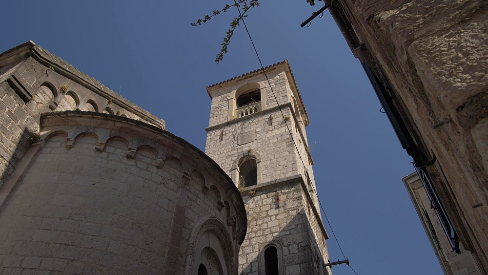 Church bell tower in Old Town of Kotor, UNESCO World Heritage Site, Montenegro, Europe