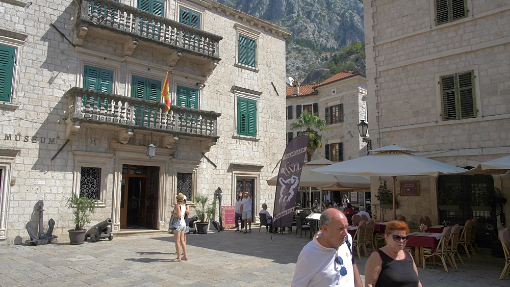 Museum and cafes in Old Town of Kotor, UNESCO World Heritage Site, Montenegro, Europe