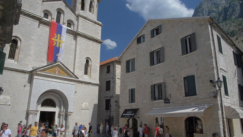 Souvenir bags, St. Nicholas Orthodox and St. Luke Church in Old Town of Kotor, UNESCO World Heritage Site, Montenegro, Europe