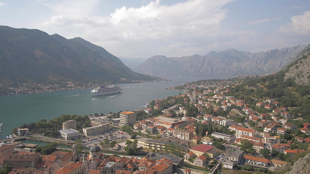 Shot of cruise ship from Chapel of Our Lady of Salvation overlooking the Old Town, Kotor, UNESCO World Heritage Site, Montenegro, Europe