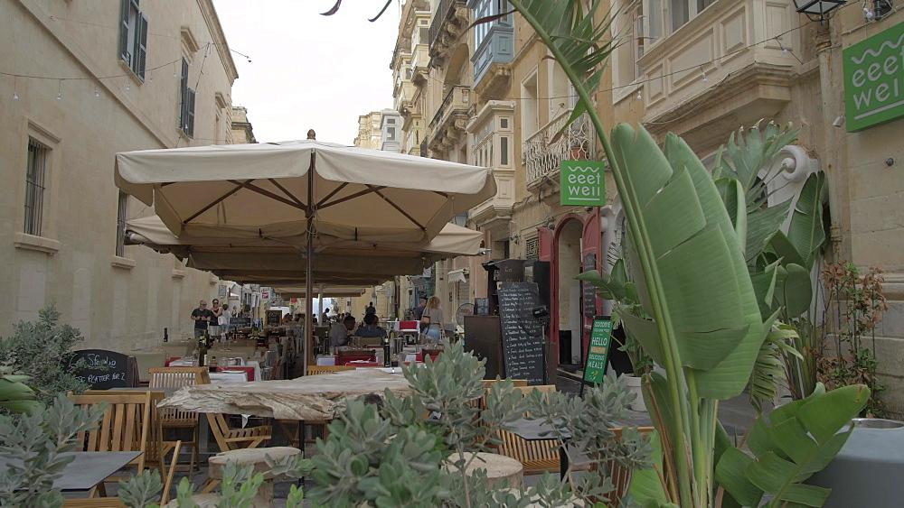 Cafes and Merchant Street, Valletta, Malta, Mediterranean, Europe