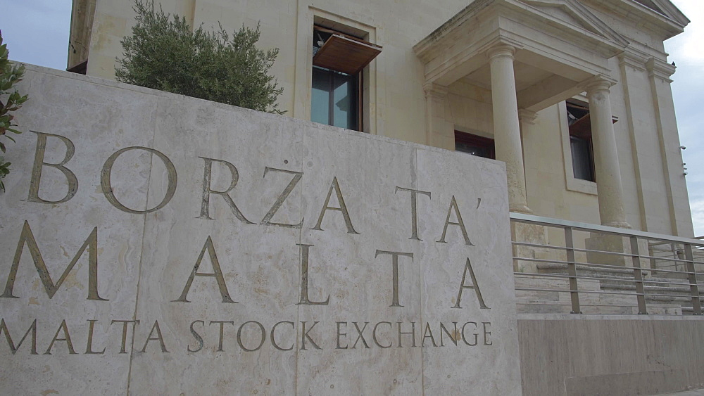 Malta Stock Exchange sign and building, Valletta, Malta, Mediterranean, Europe
