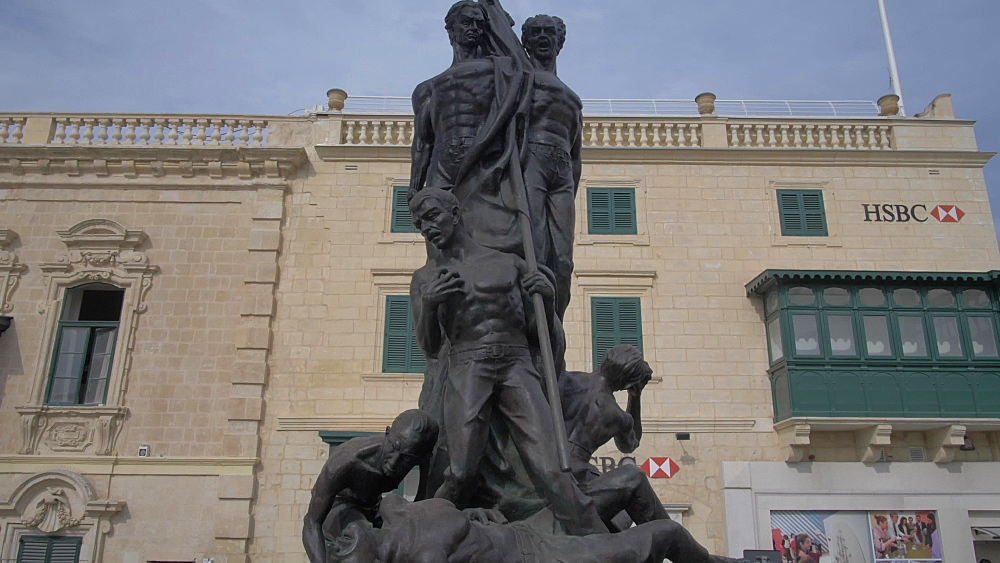 Sette Giugno Monument on St. Georgeís Square, Valletta, Malta, Mediterranean, Europe