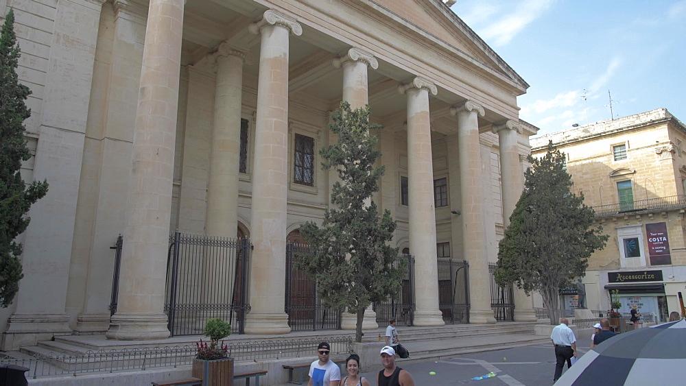 Crane shot of busy Republic Street, Valletta, Malta, Mediterranean, Europe