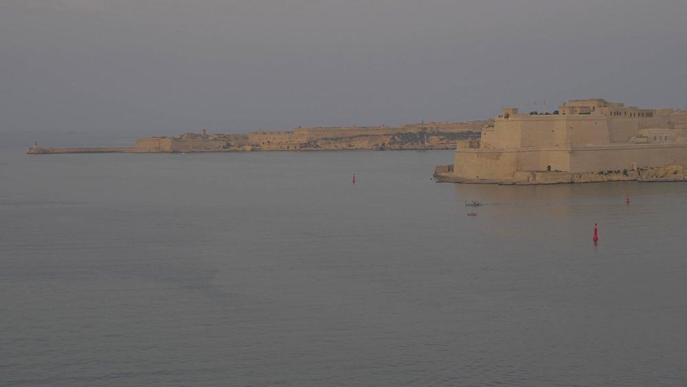 Grand Harbour at dusk, Valletta, Malta, Mediterranean, Europe