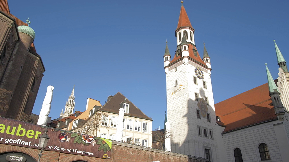 St. Peter's Church and Old Town Hall on sunny day, Munich, Bavaria, Germany, Europe